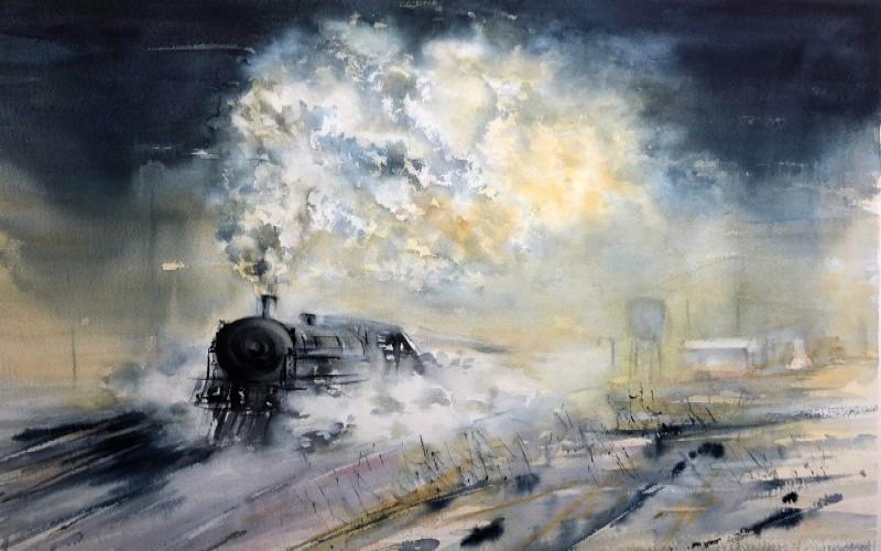 Exposición de acuarelas de Manuel Alcedo en el Museo del Ferrocarril de Madrid1